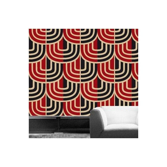 Papier peint géométrique rouge ESPIGA - Tres Tintas - Au fil des Couleurs