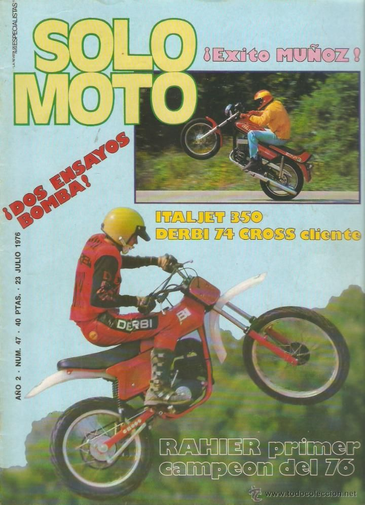 SOLO MOTO Julio 1976 ensayo Derbi 74 Cross Cliente