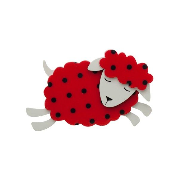 """Limited Edition Belamy Black Sheep brooch in red with black polka dot. """"I'm the black sheep... and a proud black sheep I am!"""""""