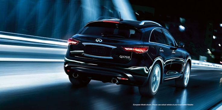2015 Infiniti QX70 Luxury Crossover Exterior | Rear Profile Highlighting the QX70 Dual Exhaust With Polished Tips