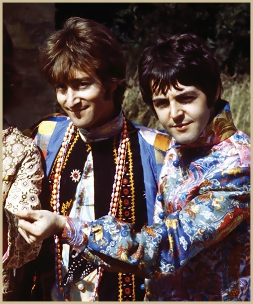 John  Lennon and  Paul McCartney in some classic Hippy regalia. Two of the greatest songsters of all time!