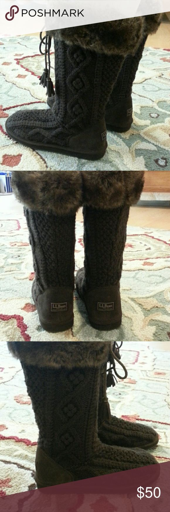 Women's LL Bean cable boots with faux fur, size 9. Women's LL Bean cable boots with faux fur, size 9.   These were worn twice.  The boots sit mid calf and are small/tight in the calf.  Feel free to ask questions. L.L. Bean Shoes Winter & Rain Boots