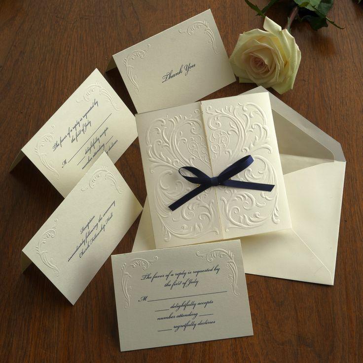 Blind Embossed Wedding Invitation Set - Raised Thermography Wedding Invite - Classic Wedding Invitation - Custom Wedding Invitation - AV1172 by TheAmericanWedding on Etsy https://www.etsy.com/listing/265404653/blind-embossed-wedding-invitation-set