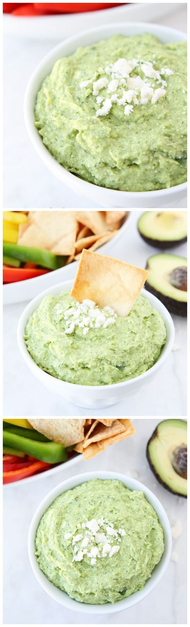 Avocado Feta Dip Recipe on twopeasandtheirpod.com Perfect for your Super Bowl party!