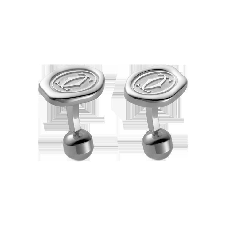 Cartier wax seal decor cufflinks, sterling & palladium | ref: T1220434 | 490.00