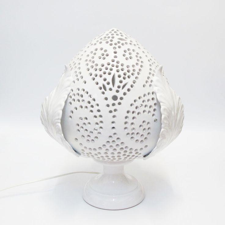 Miglior prezzo lampada pumo 36 cm bianca rosaria spagnulo ceramiche | Enriquez