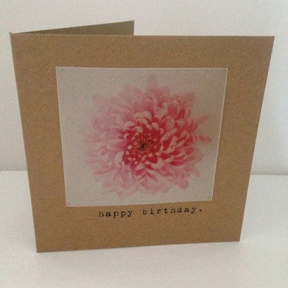 Vintage Style Shabby Chic happy birthday card - vintage flower photography - hand made on Etsy, £2.50