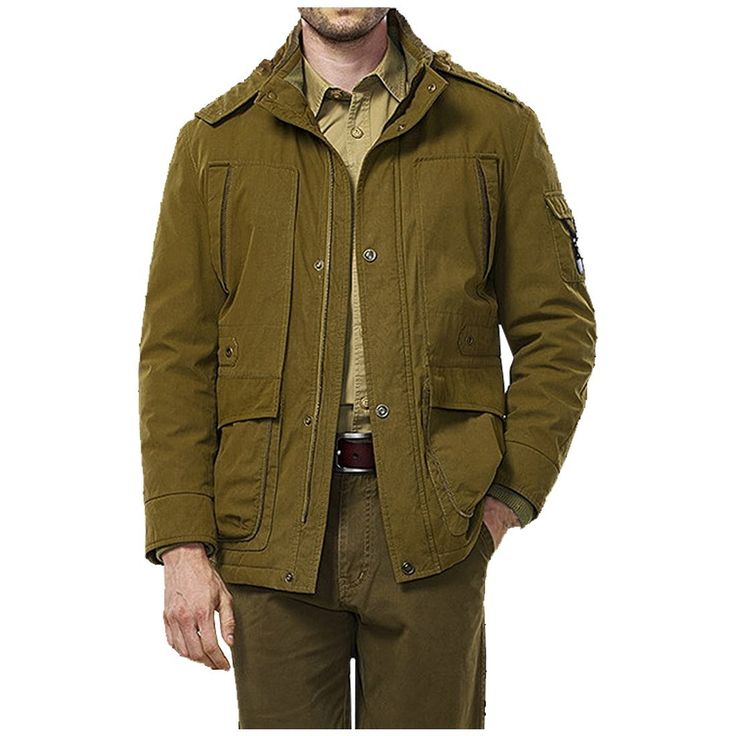 Cozy Age Mens Sherpa Lined Hooded Multi Pocket Jacket Winter Jacket Coat,Chinese L,Army Green