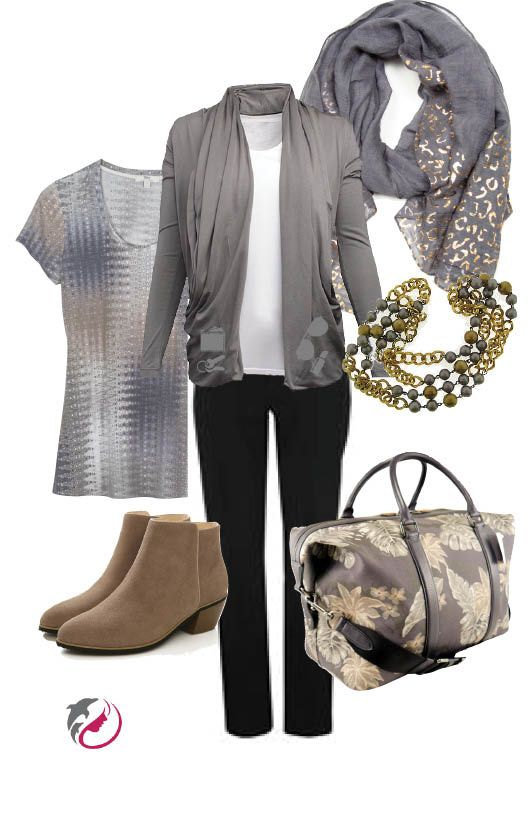 Grey & Tan neutrals. Grey sweater by Maddie with internal pockets by ScotteVest Multi-purpose Coach bag with lots of pockets. Nike golf pants make great travel companions because they don't wrinkle and look great for casual or dressup with a nice top. Pretty scarf to keep you warm on the plane and doubles as an evening wrap. Tilly print t-shirt is great for travel and can be dressed up with jewelry or a scarf. Amore swede booties for jeans or dressup.