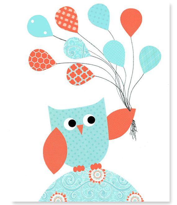 Aqua und Korallen Owl Kinderzimmer Kunst, Mädchens Schlafzimmer Dekor, Eule mit…