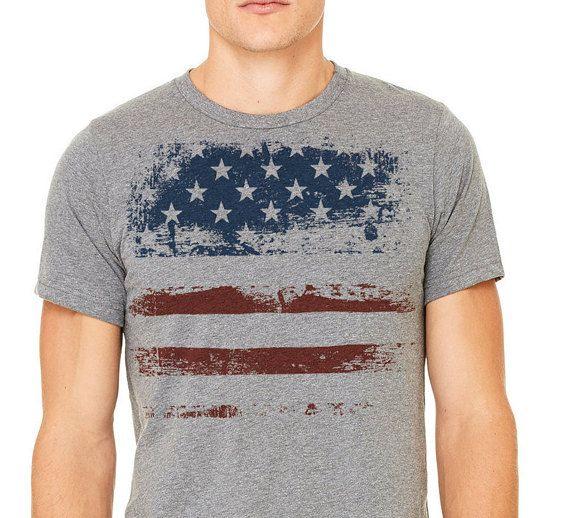 July 4t T-shirt Gray T-shirtMan's t-shirt Patriotic by ComfyLine