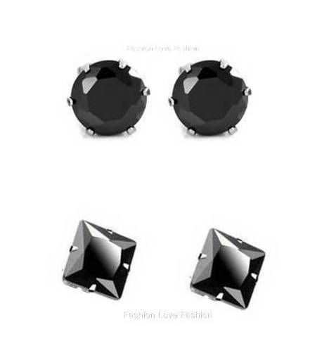 1 Pair Cz Black Square/Round Magnetic Earrings Studs Women Men Free Shipping