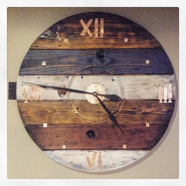 """Cable Spool Clock my husband Jon Ammons made 3' with hand cut copper numbers, 17"""" hands"""
