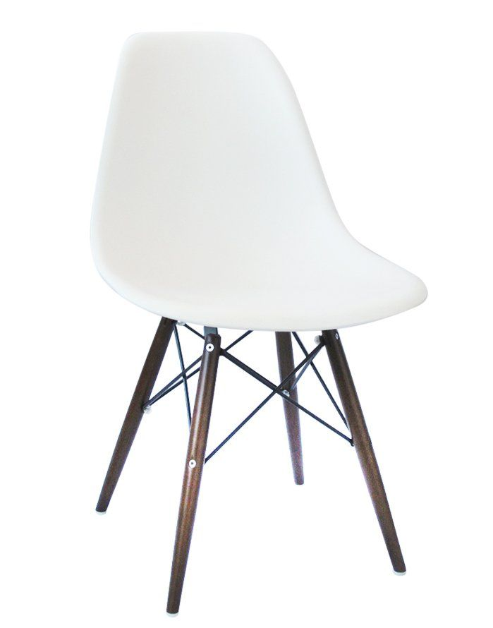 Replica Eames DSW Chair – White/Walnut Stain