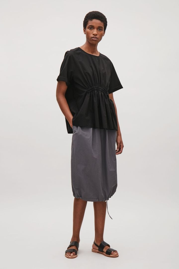 COS image 1 of Drawstring front top in Black