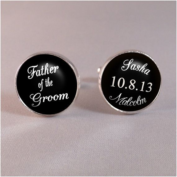 Father of the Groom Wedding Day Cufflinks in Silver or Antique Bronze Finish - Bride and Groom Names and Wedding Save the Date on Etsy, $18.67 AUD