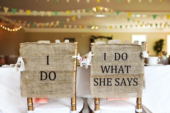 Bride and Groom burlap chair cover signs by HeartofGoldblog via Etsy. #reception #weddingseating #burlap