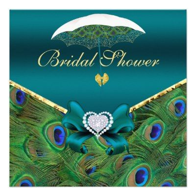 Teal Peacock Bridal Shower Invite