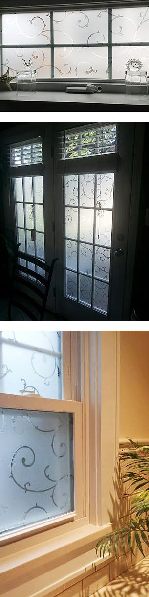 Here are three ways Home Depot customers have used this lovely Etched Lace Window Film. Artscape films are easily applied to any smooth glass surface. They do not use adhesives and are easily removed if needed. They can be trimmed or combined to fit any size window.