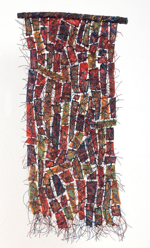 Remnants: Recycled Artwork --- 17, 2011 28 x 12 in Fiber, encaustic, paint, oilstick, waxed linen, wire