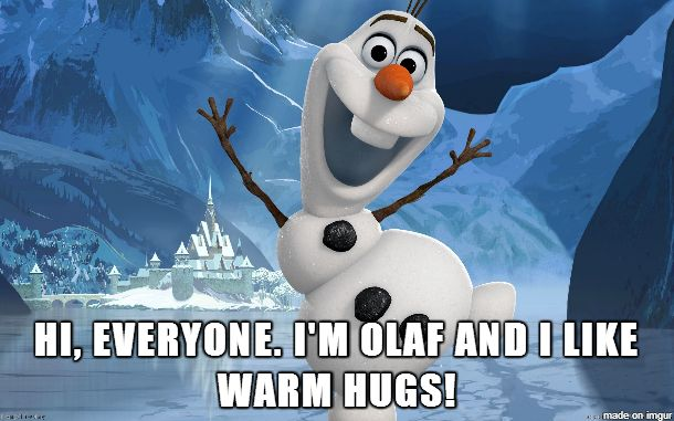 Hi I'm Olaf and I like warm hugs.
