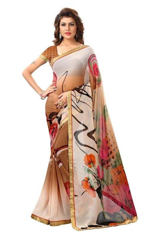 buy saree online Brown Colour Fancy Printed With Lace Border Georgette Saree Buy Saree online - Buy Sarees online