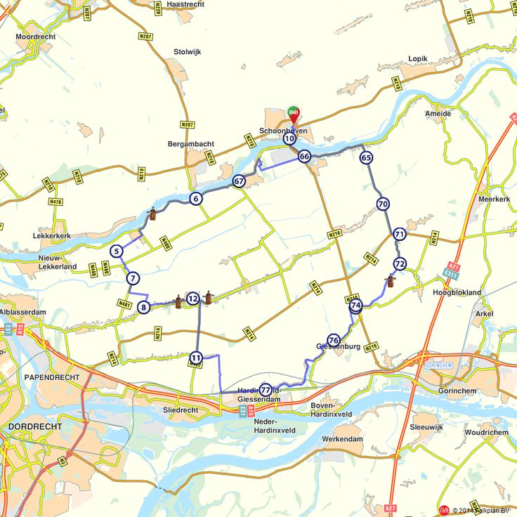 Fietsroute: Molenroute Schoonhoven (http://www.route.nl/fietsroutes/139741/Molenroute-Schoonhoven/)