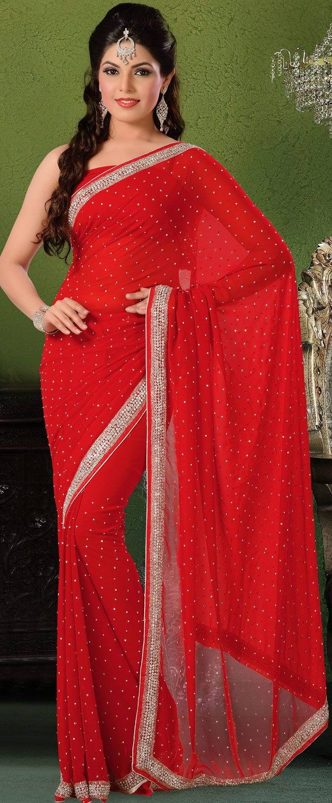 #Red Faux #Georgette Indian #Saree Blouse | @ $108.28