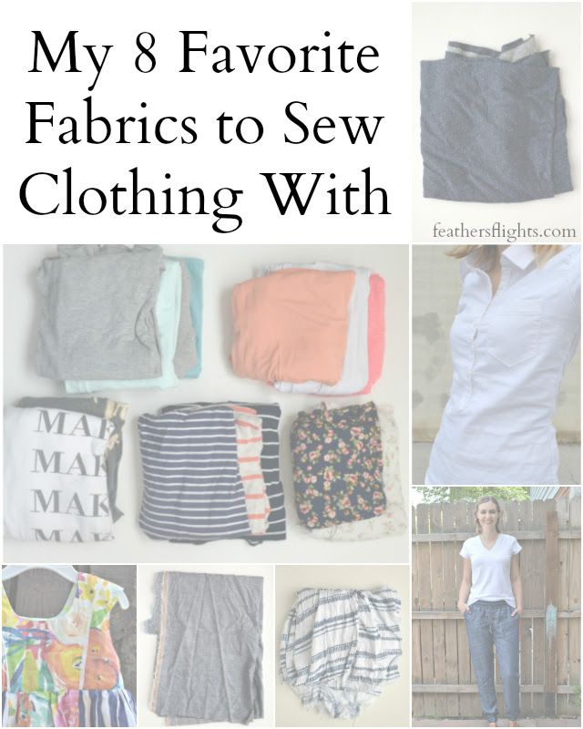 I love sewing clothing, but it's hard to know which fabrics to sew clothing with unless you've tried a lot. Here are my 8 Favorite Fabrics to Sew Clothing With because I've used them over and over again!