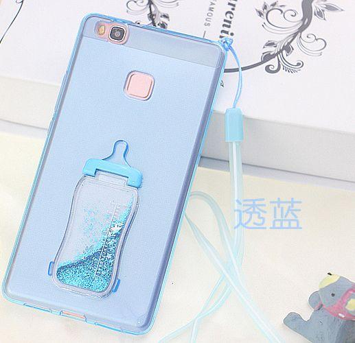 Case Huawei P9, Huawei P9 Plus, Huawei P9 Lite Lanyard Strap Glitter Bling Baby Milk Bottle Transparent Silicone TPU Stand