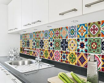 Talavera tile stickers kitchen backsplash tiles - Azulejos para lavaderos ...
