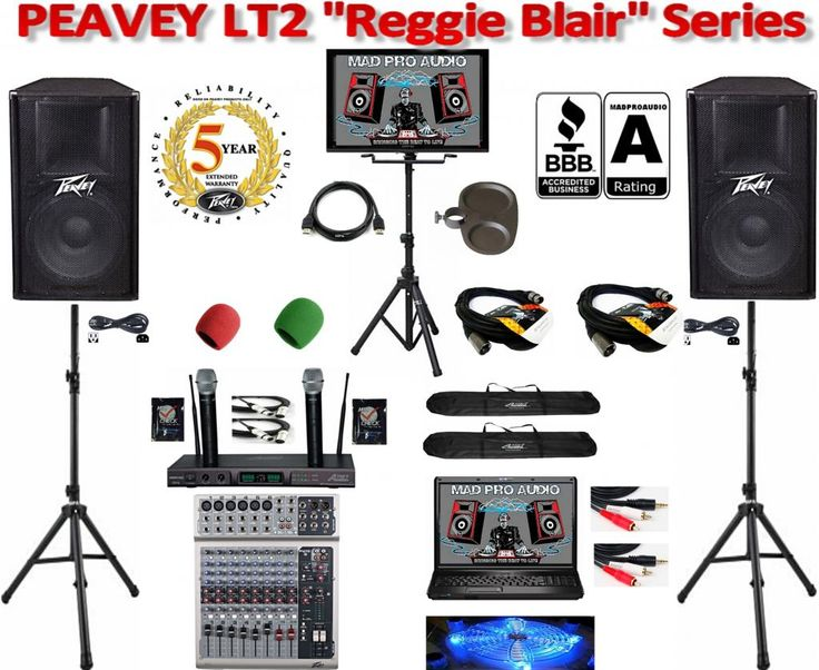 Complete professional karaoke system for karaoke shows, karaoke club, live sound applications, pa system. Featuring a pair of Peavey PV115d powered 15 inch speakers, Peavey pv10 mixer, audio2000 awm6122u dual wireless UHF rechargeable microphones, karaoke computer, karaoke library, karaoke tv stand package & much more.