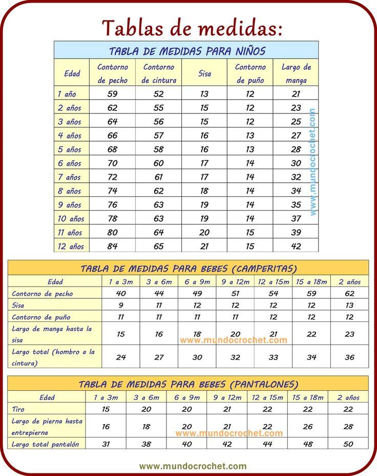 Tabla de medidas tejidos/tabla de medidas crochet/tabla de medidas ganchillo/tabla de medidas prendas ✿⊱╮Teresa Restegui http://www.pinterest.com/teretegui/✿⊱╮