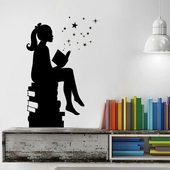 Girl reading books magic vinyl wall decal