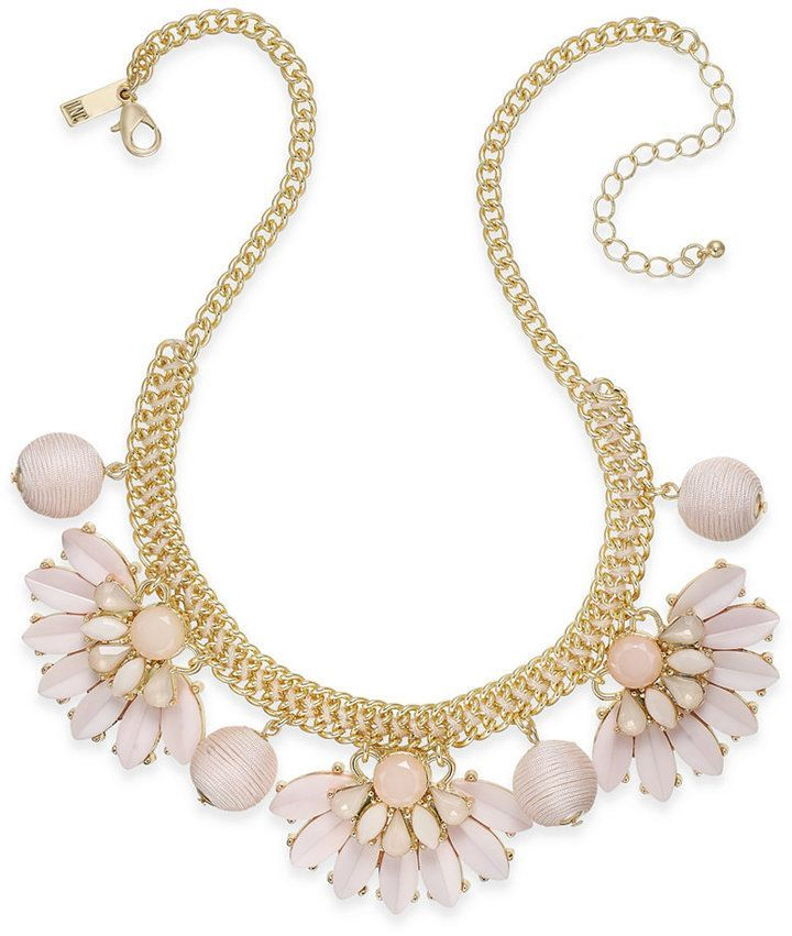 Inc International Concepts Gold-Tone Stone & Thread Statement Necklace, Created for Macy's. Lots of colors, but I love the blush pink.