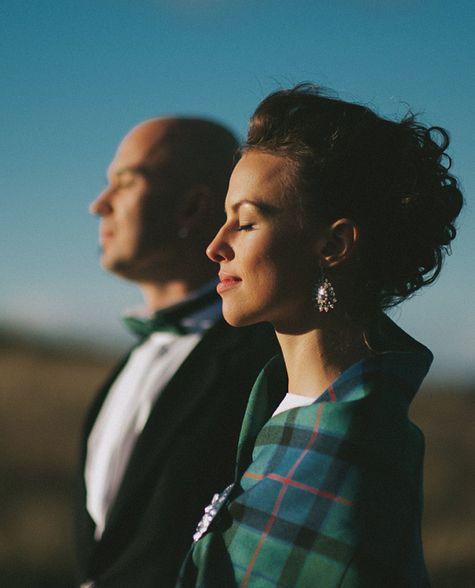 Tartan shawl for her wedding, Isle of Skye
