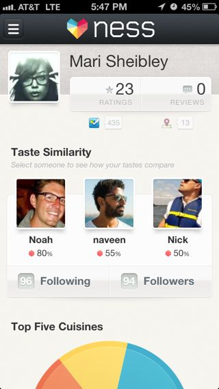 Ness iPhone user profiles screenshot