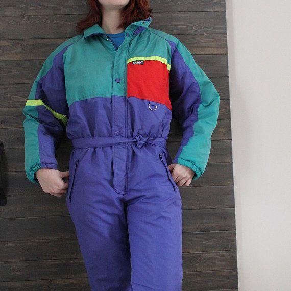 combinaison de neige, une pièce de ski, vintage 80' authentique Etirel, Taille Petit pour homme.