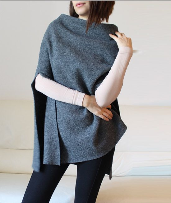 wool cape, minimal gray wool poncho cape by Afycollection on Etsy https://www.etsy.com/listing/247155833/wool-cape-minimal-gray-wool-poncho-cape