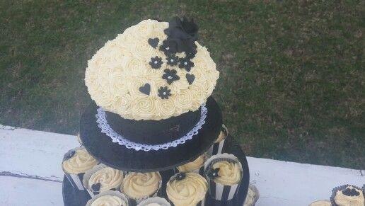 Black and white giant cupcake