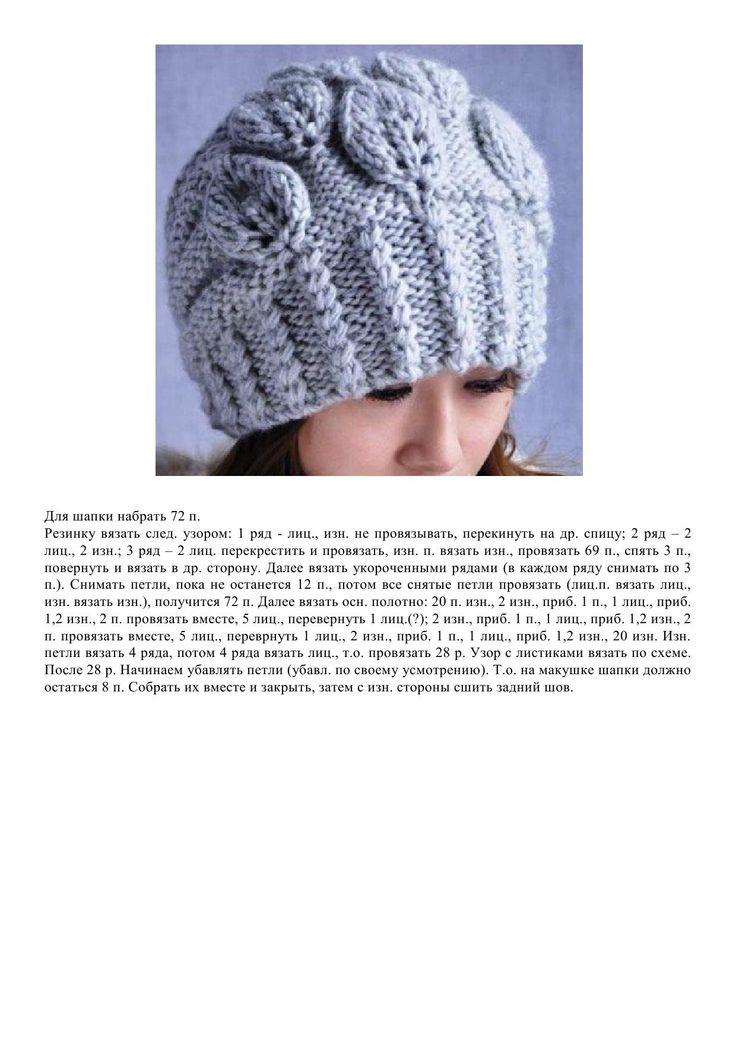 Женские шапки спицами с описанием и фото