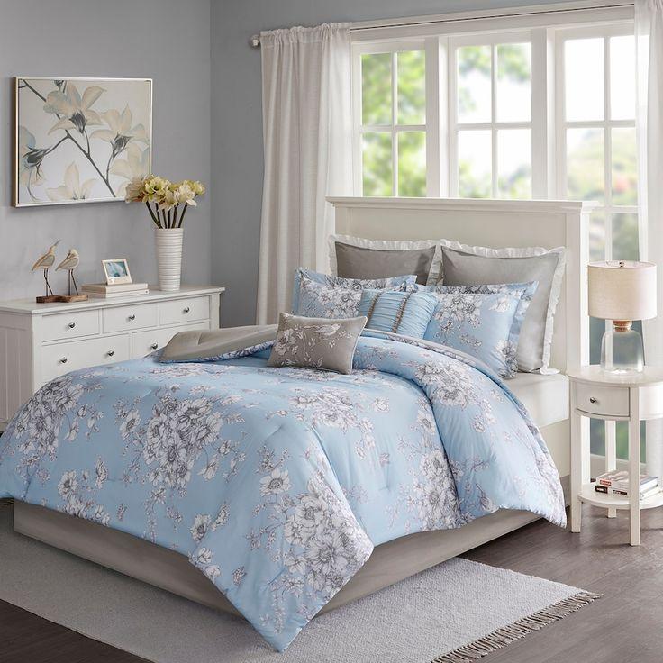 Madison Park Apartments California: Madison Park Claire 8-piece Floral Comforter Set, Blue