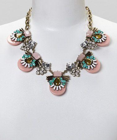 Look at this #zulilyfind! Pink & Blue Deco Crystal Bib Necklace by Sorta Southern Boutique #zulilyfinds