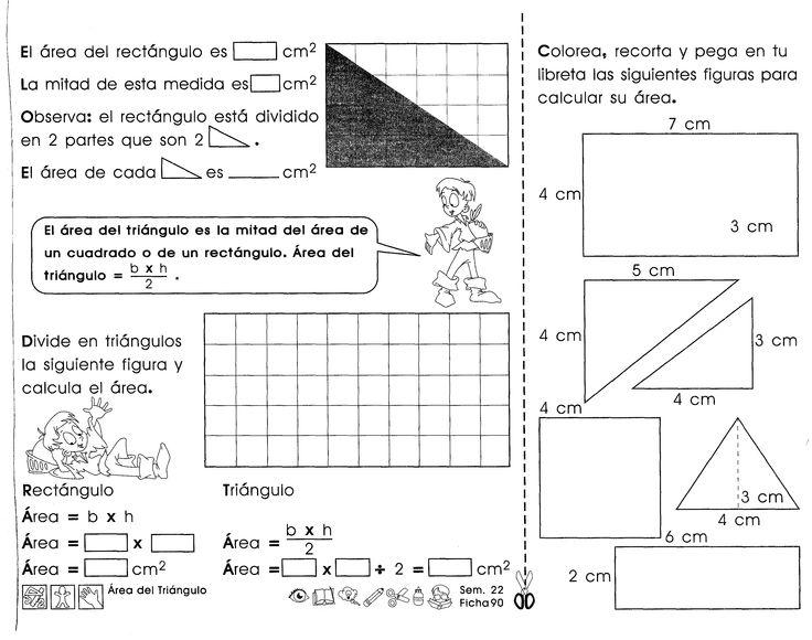Área del triángulo: El área del triángulo es la mitad del área de un cuadrado o de un rectángulo.