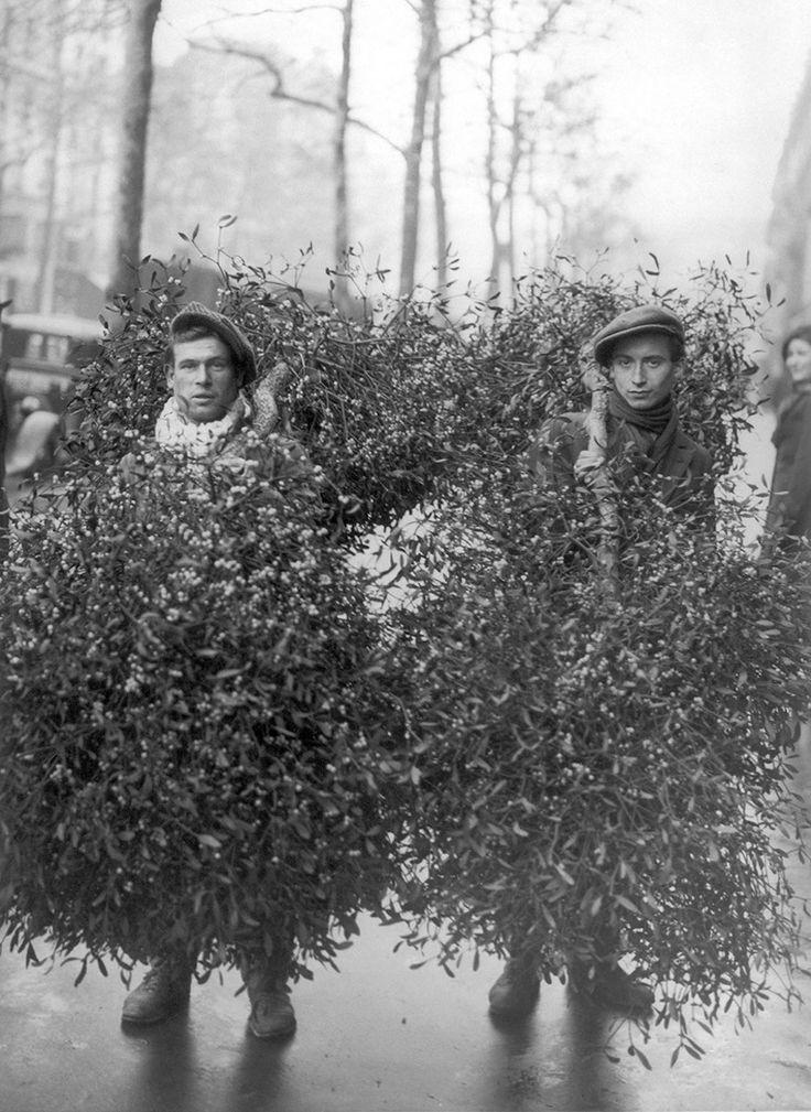 Paris 1928, selling mistletoe on the streets.