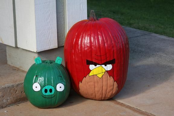 Angry Bird pumpkins - Gage is all over this idea.