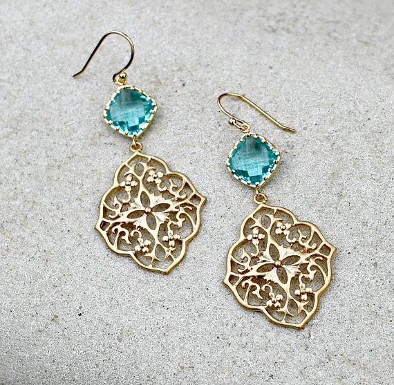 Gold Chandelier Earrings, Aqua Jewel, Bohemian Jewelry, Wedding, Boho Chic