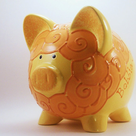 Personalized Piggy Bank  Lion  Yellow & Orange  with by ThePigPen, $45.50