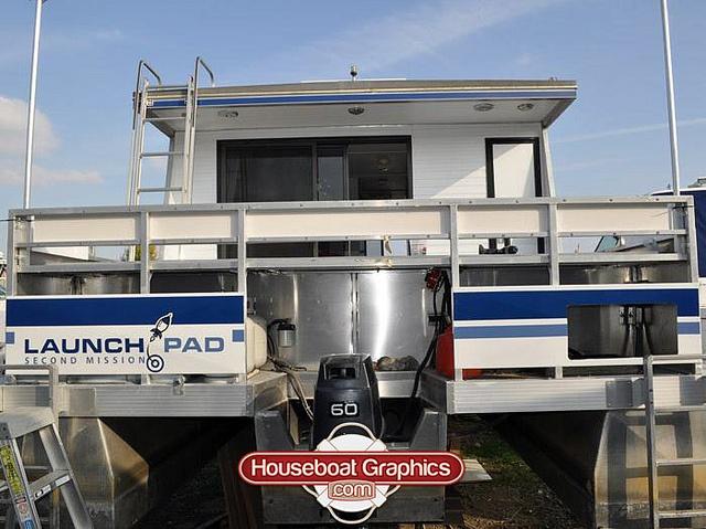 Houseboatgraphicslaunchpadboatnamedecals Graphics - Custom designed houseboat graphics