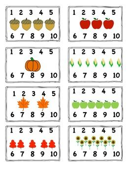Fall Themed Activities - numbers to ten clothespin clip cards math center